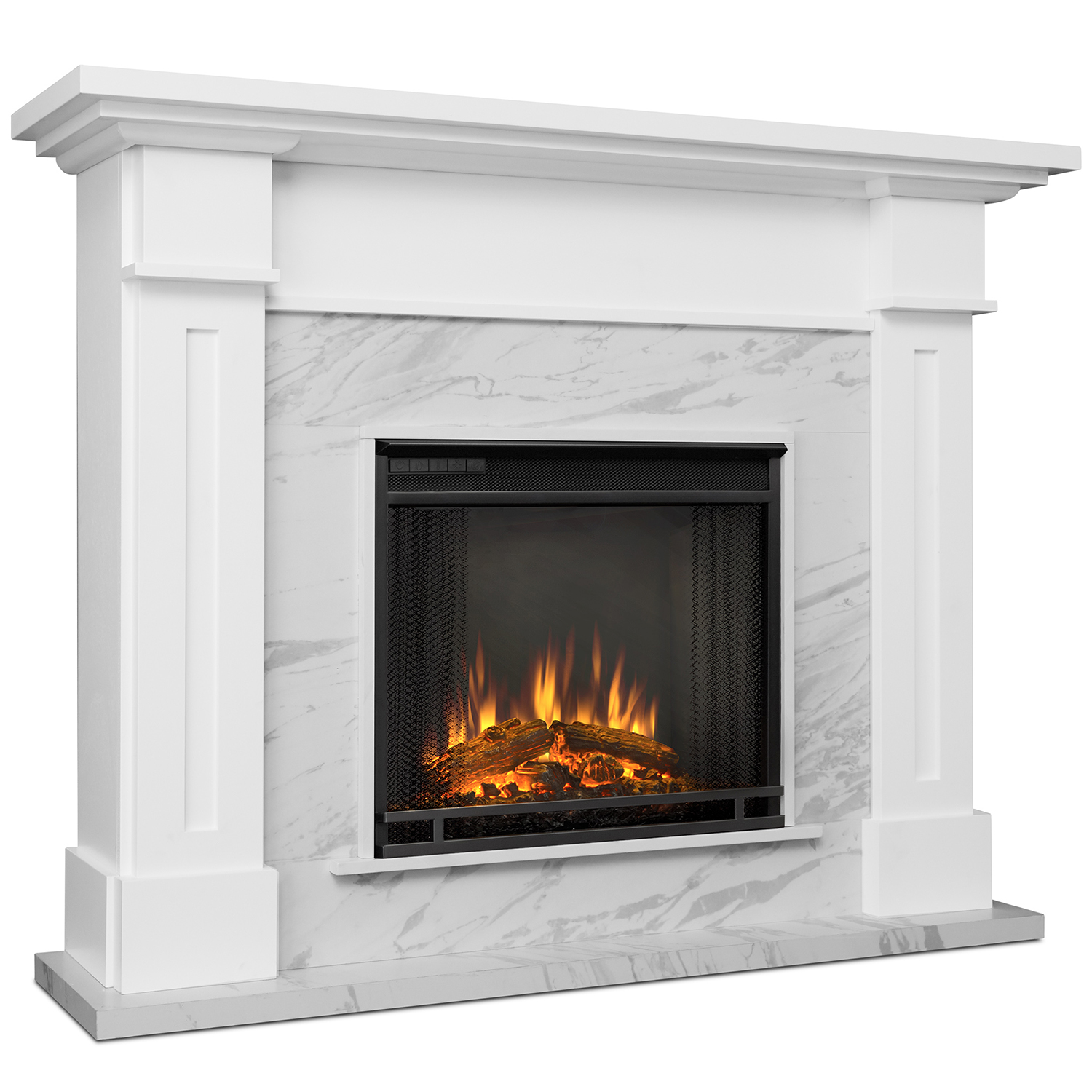 Real Flame 6030E-WM Kipling Indoor Ventless Electric Fireplace White Faux Marble Real-Flame-6030E-WM