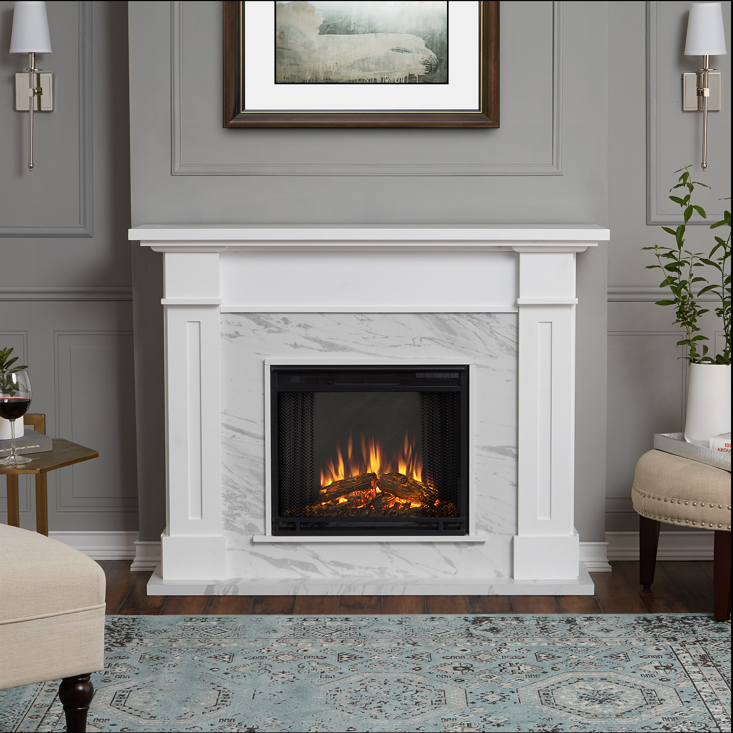 real flame 6030e wm kipling indoor ventless electric fireplace in