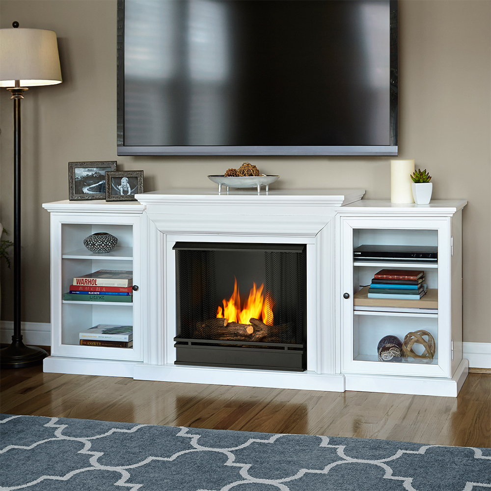 Real Flame Frederick TV Stand w/ Ventless Gel Fireplace in White - Real Flame 7740-W Frederick TV Stand W/ Ventless Gel Fireplace In