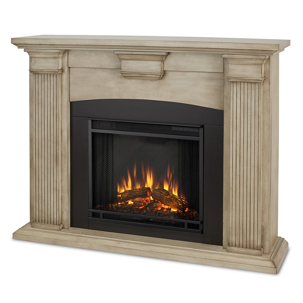 Real Flame 7920e Dbw Adelaide Indoor Ventless Electric Fireplace In Dry Brush White W Black