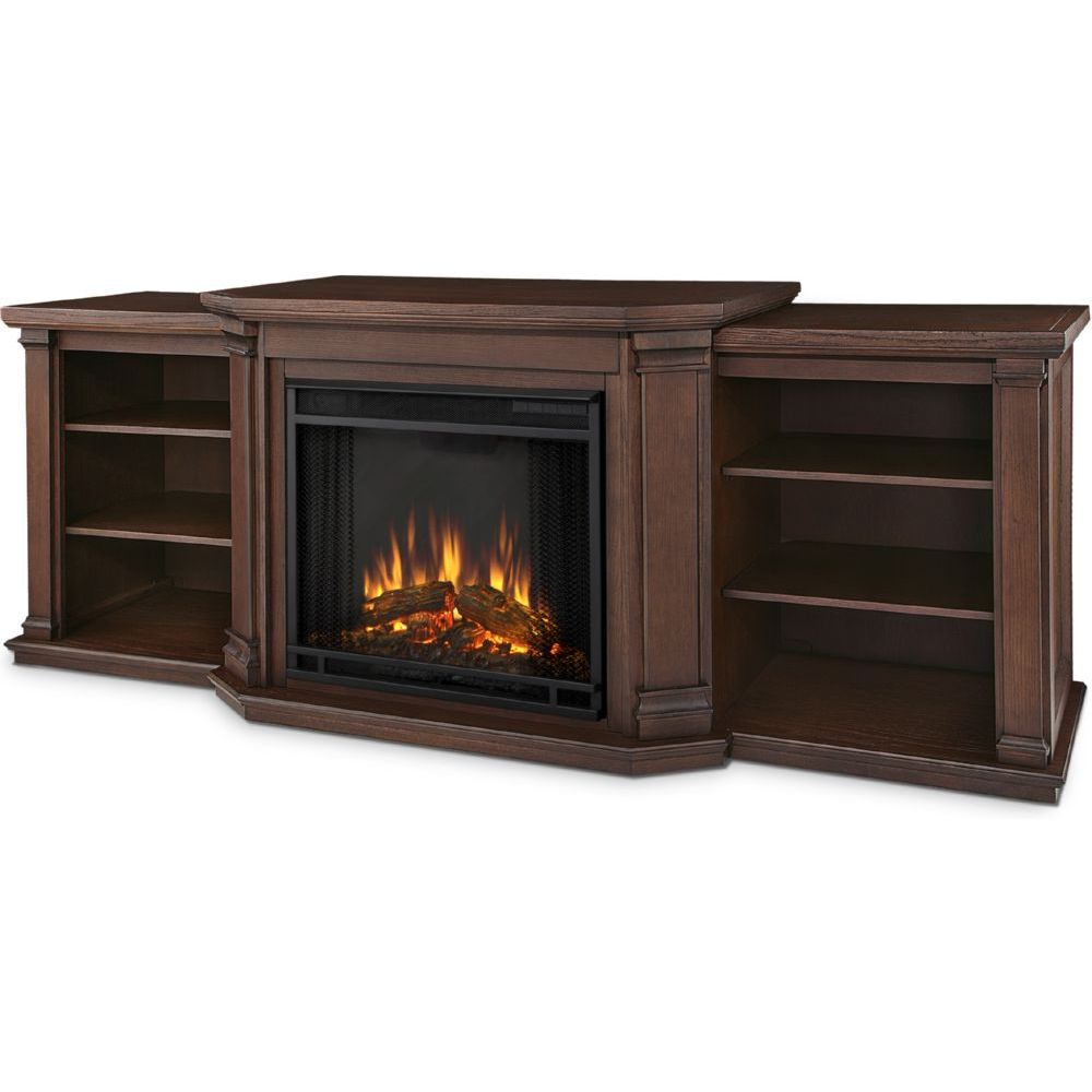 Real Flame Valmont TV Stand w/ Ventless Electric Fireplace in Chestnut Oak - Real Flame 7930E-CO Valmont TV Stand W/ Ventless Electric