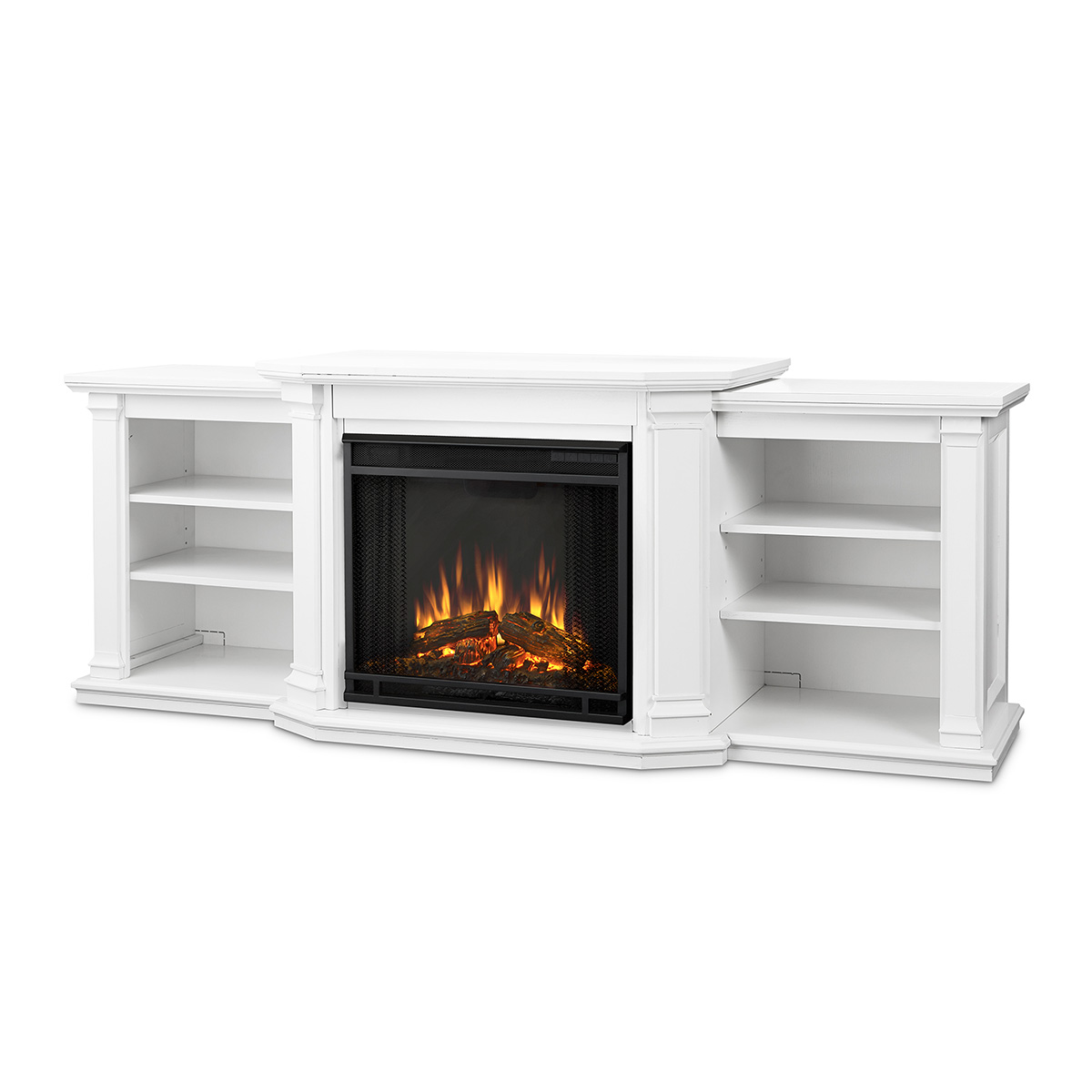 Real Flame 7930e W Valmont Tv Stand W Ventless Electric Fireplace In White