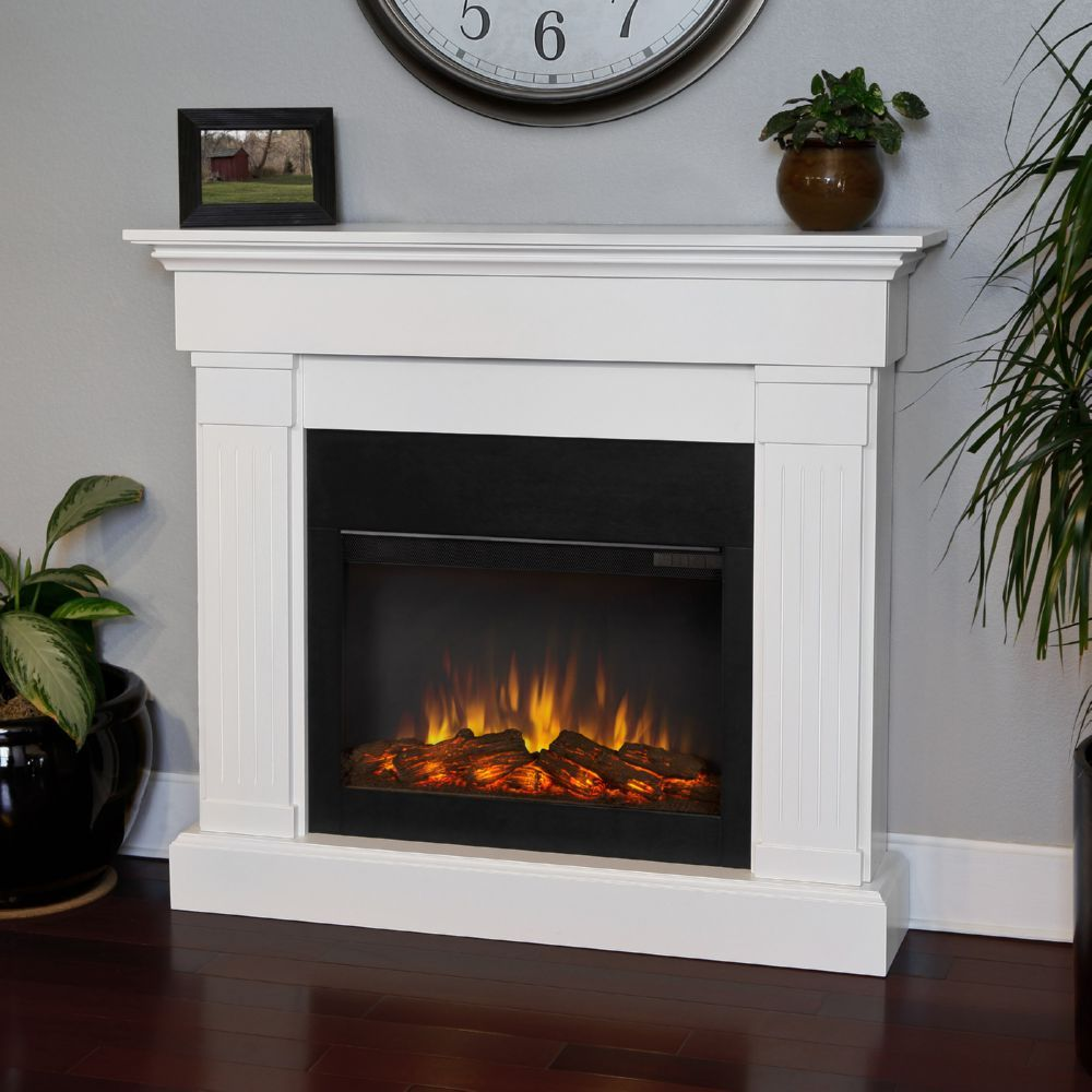 Real Flame 8020e W Crawford Slim Line Ventless Electric Fireplace In White