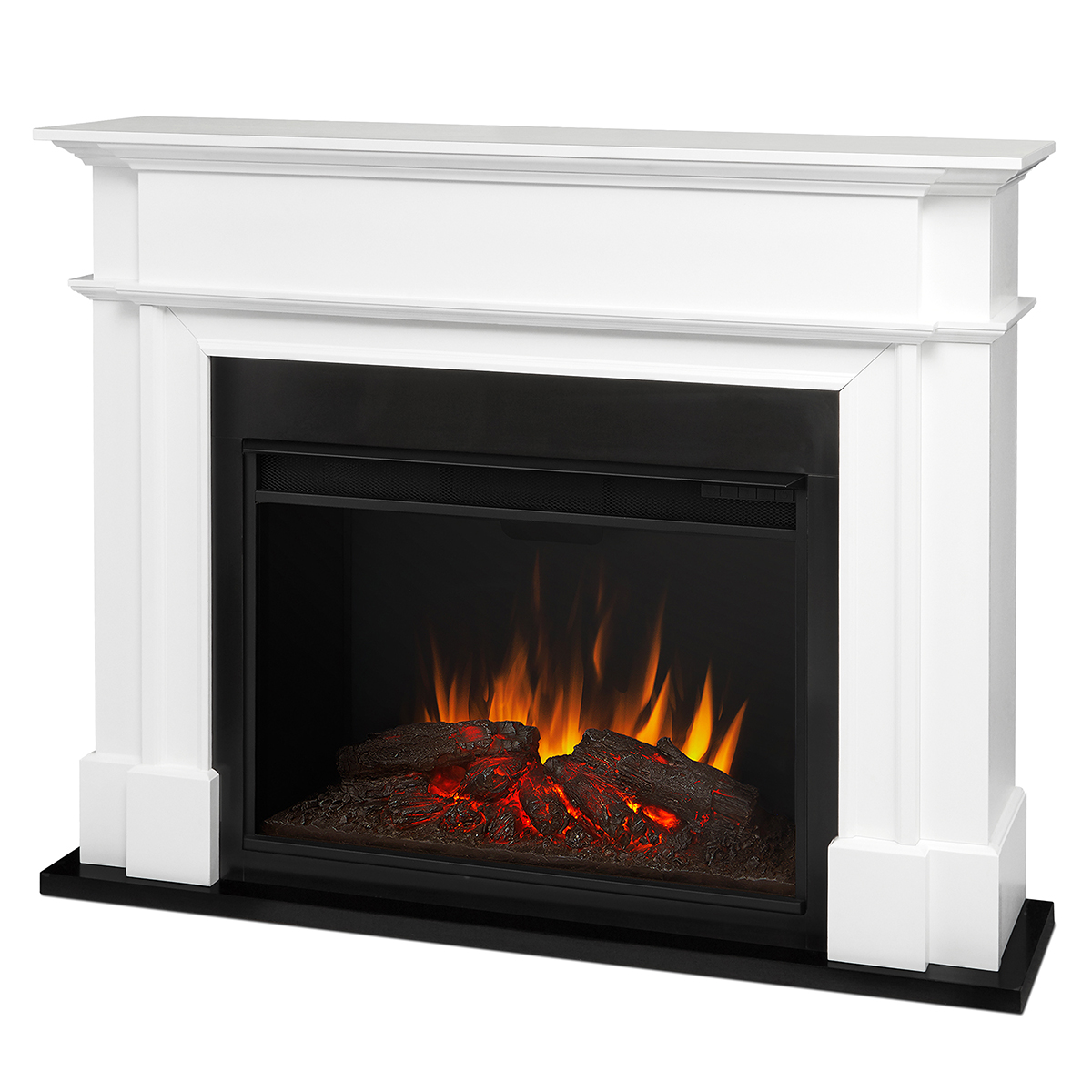 Real Flame 8060e W Harlan Grand Indoor Ventless Electric Fireplace In White W Black Surround