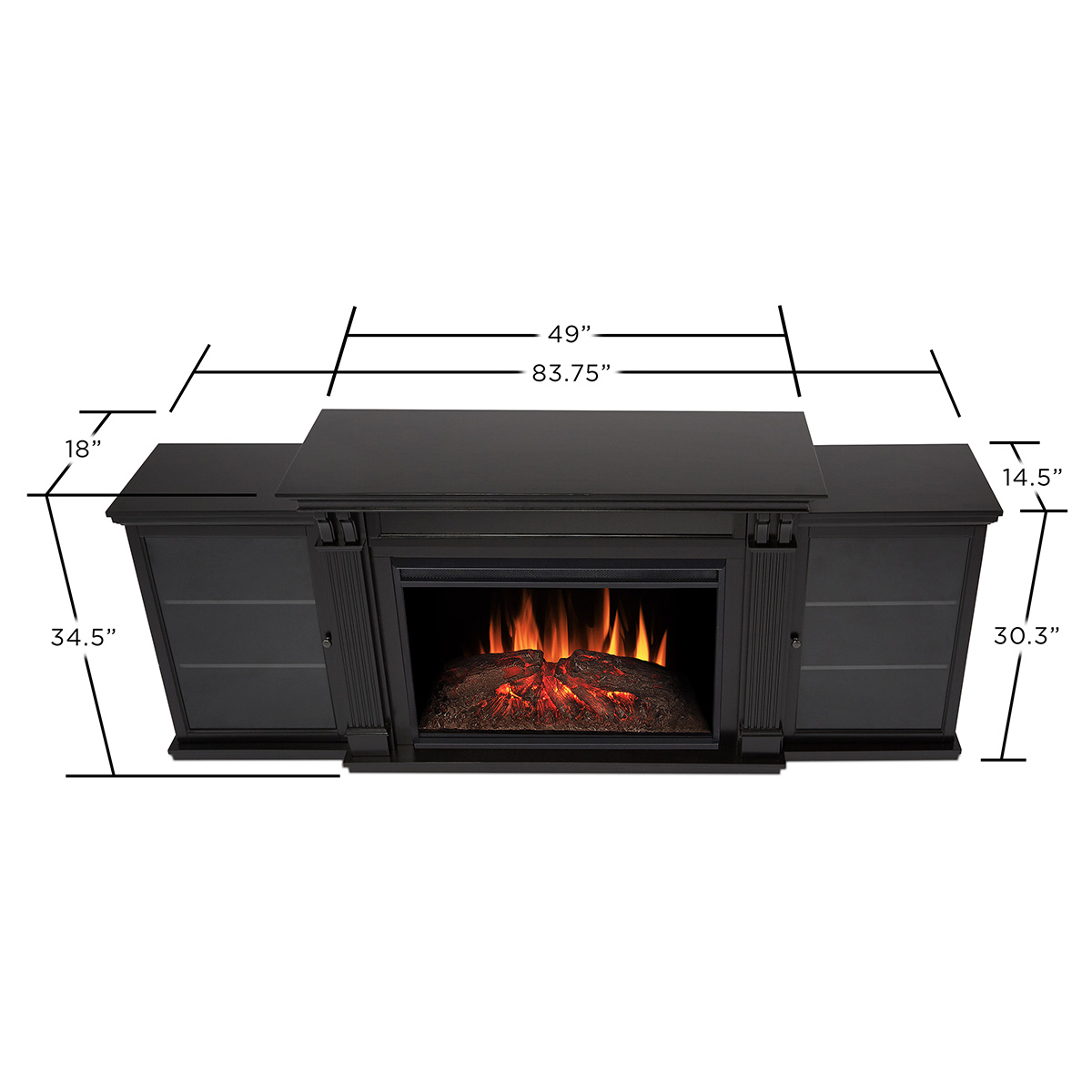 real flame 8720e blk tracey grand 83