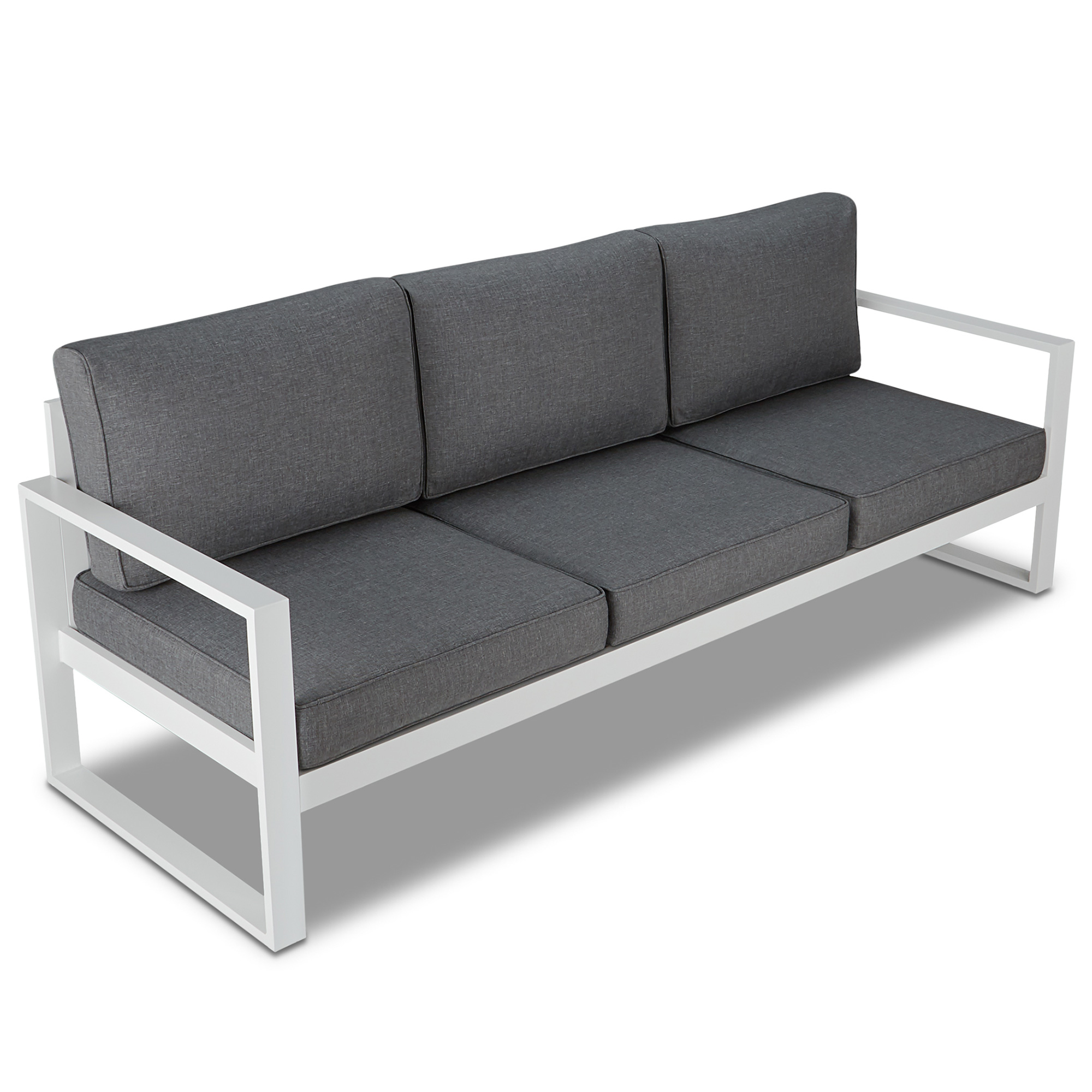 Real Flame 9621 WHT Baltic Outdoor Sofa in White Aluminum w Grey