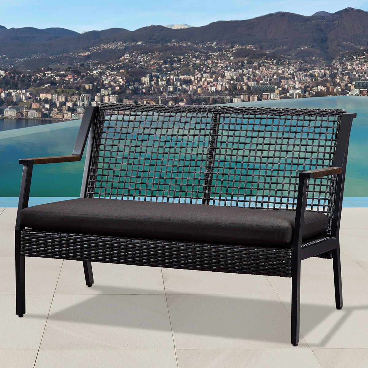 Super Calvin Loveseat In Black Resin Wicker Fabric By Real Flame Pdpeps Interior Chair Design Pdpepsorg