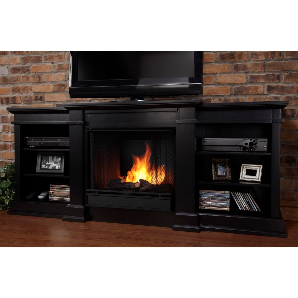 Real Flame G1200 B Fresno Tv Stand W Ventless Gel Fireplace In Black