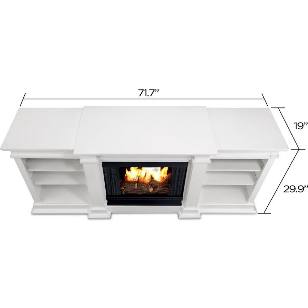 real flame fresno tv stand w ventless gel fireplace in white