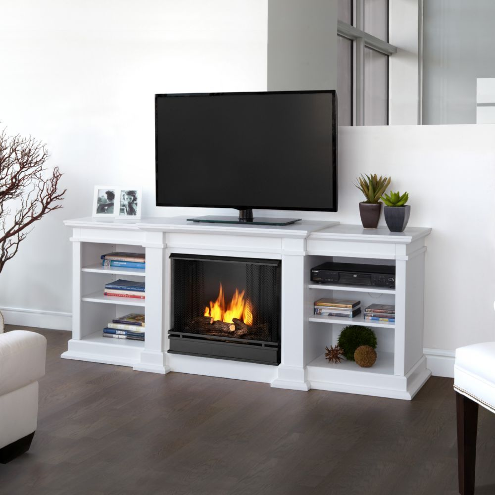 - Real Flame G1200-W Fresno TV Stand W/ Ventless Gel Fireplace In White