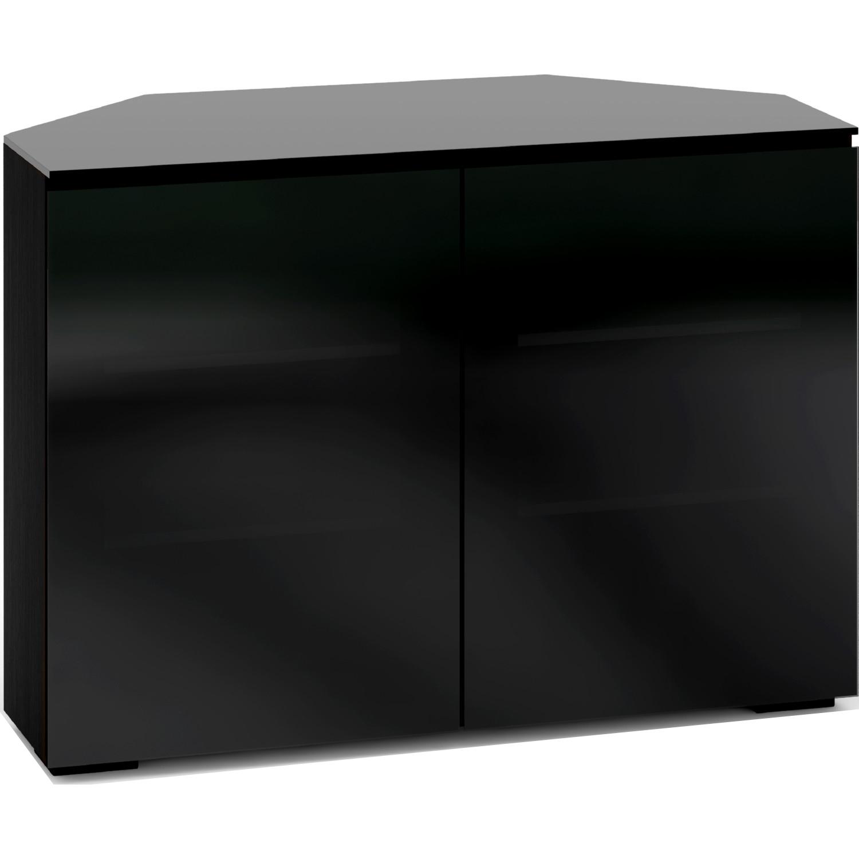 Oslo 221 44 Corner Tv Stand Cabinet In Black Oak W Smoked Gl Doors Top By Salamander Designs