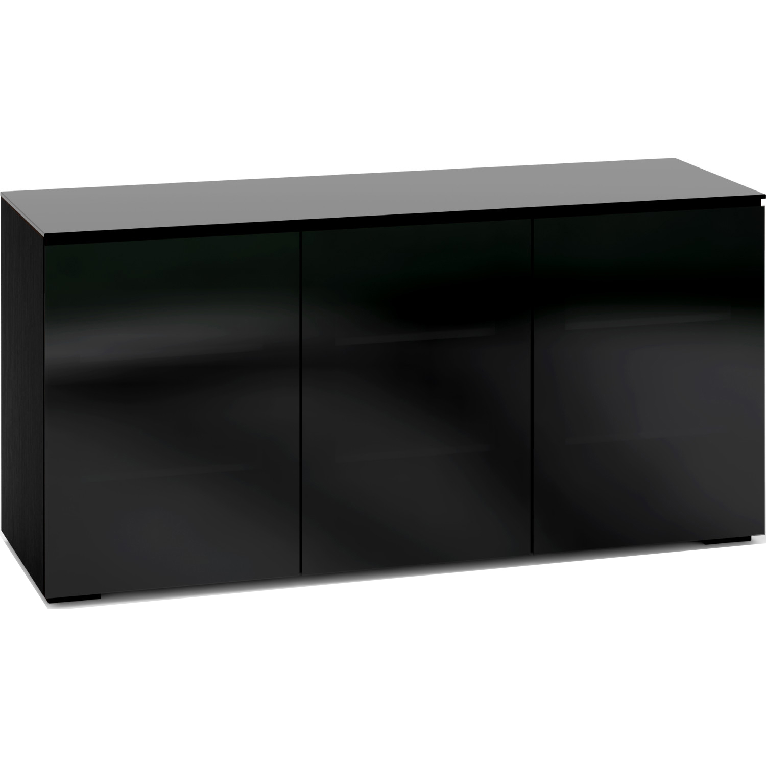Picture of: Salamander Designs C Os337 Bg Oslo 337 65 Extra Tall Tv Stand Cabinet In Black Oak W Smoked Black Glass Doors Top