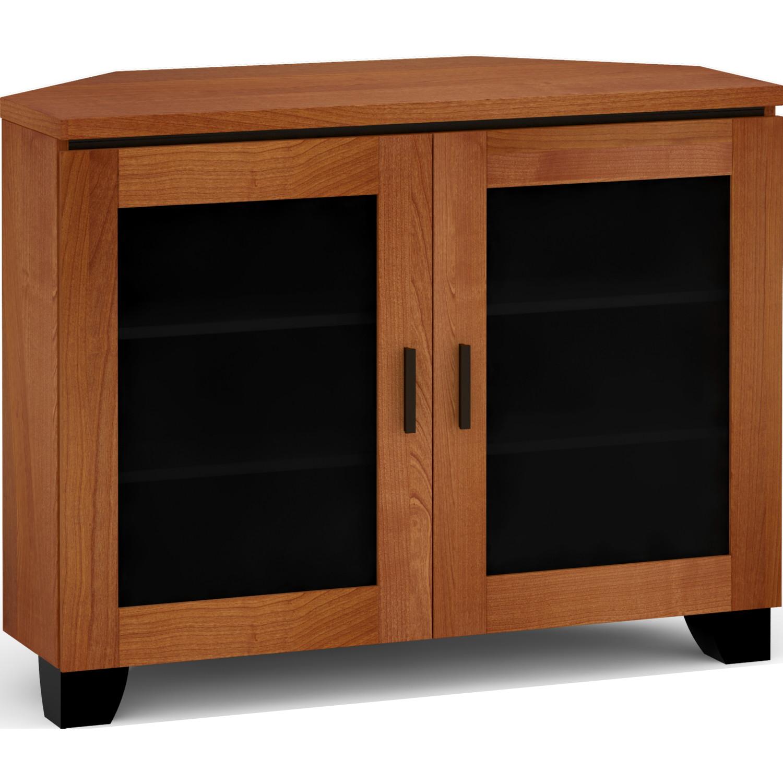 Salamander Designs C El323cr Ac Elba 323cr 44 Corner Tv Stand Av Cabinet In American Cherry W Smoked Glass