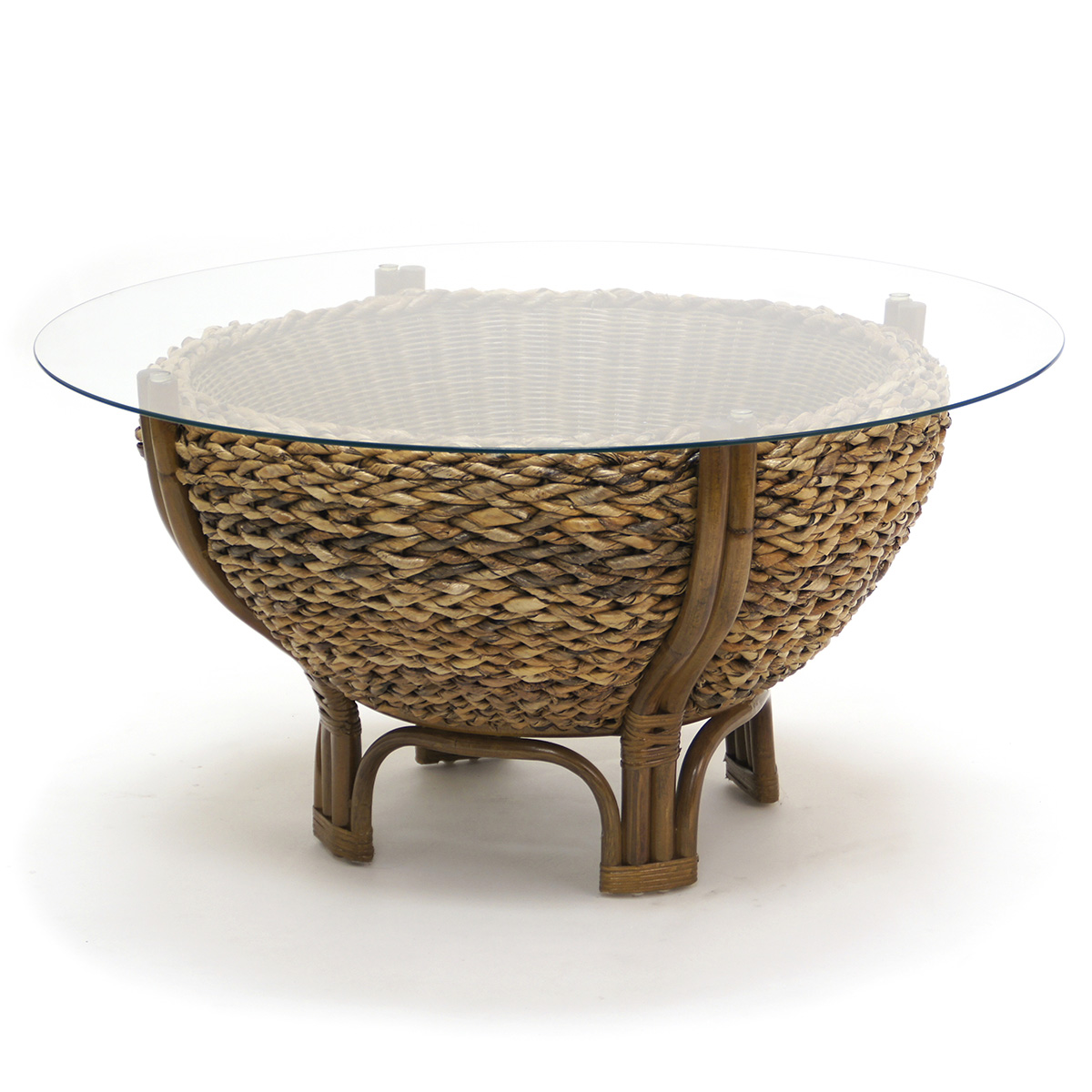 Sea Winds Maui Bowl Coffee Table In Natural Woven Grass W Glass Top