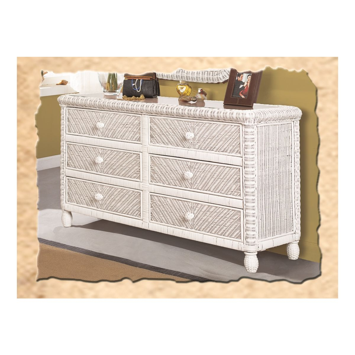 Santa Cruz 6 Drawer Dresser In White Wicker W Gl Top By Sea Winds