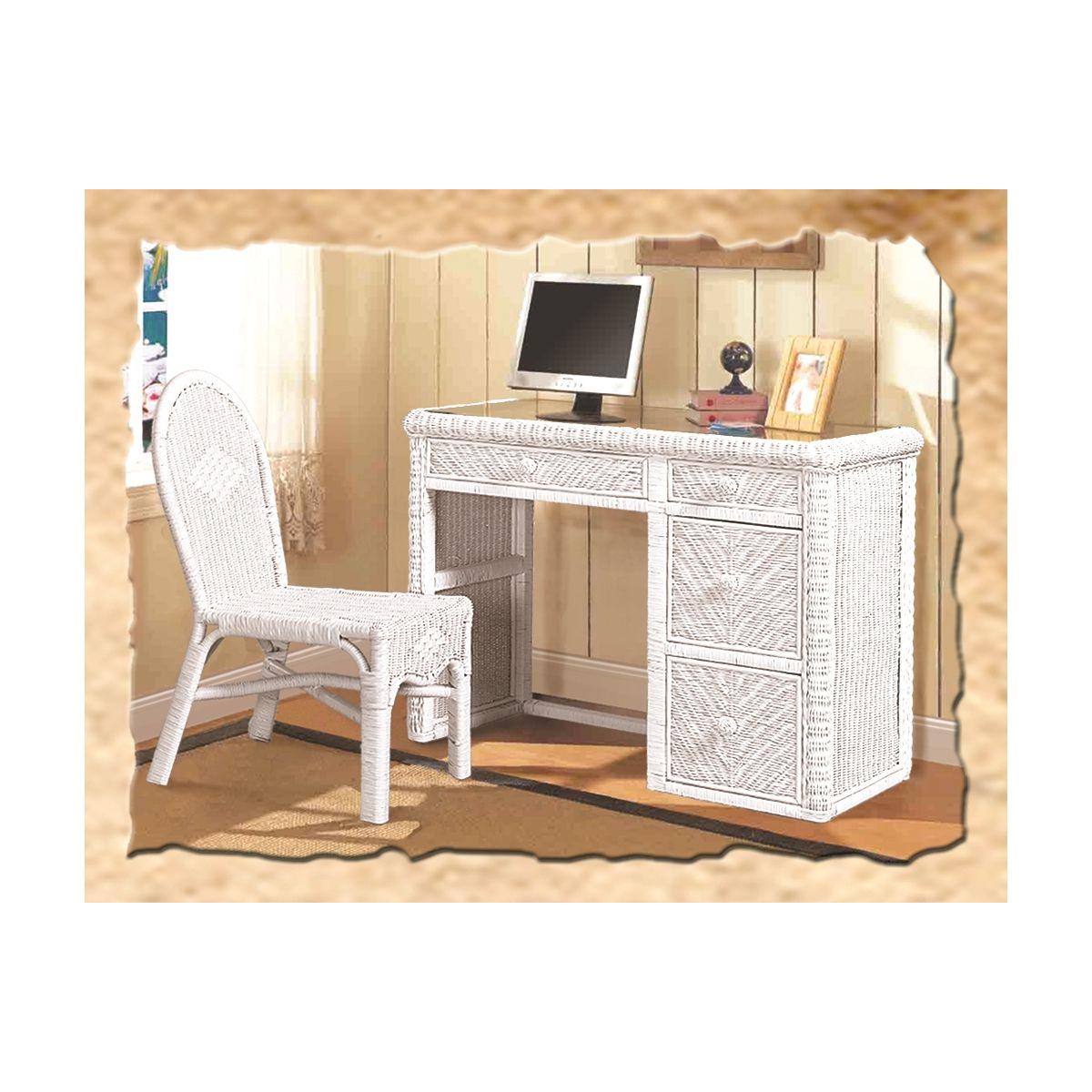 Image of: Sea Winds B57974 White Santa Cruz Computer Desk Chair Set In White Wicker