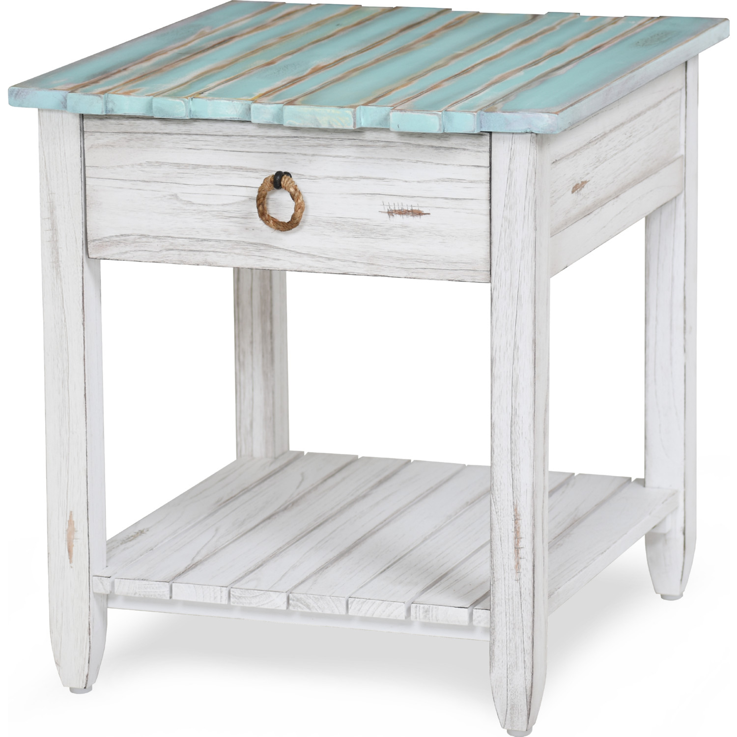 Picket Fence End Table In Distressed Blue White By Sea Winds