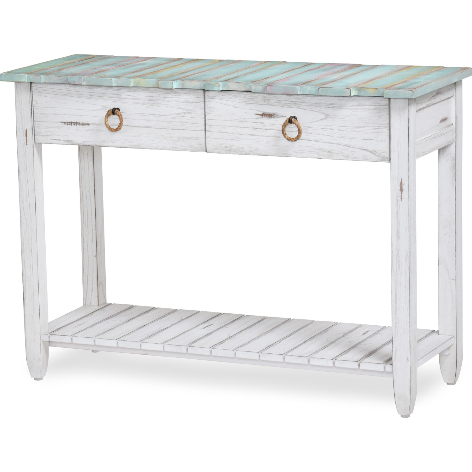 Picket Fence Console Table In Distressed Blue White By Sea Winds