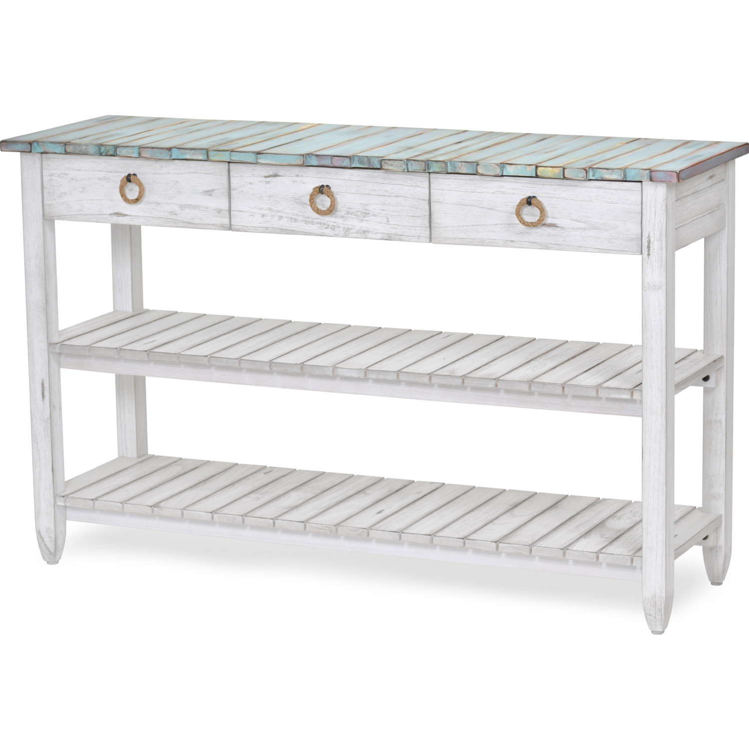 Picket Fence 52 Tv Stand Console Table In Distressed Blue White By Sea Winds