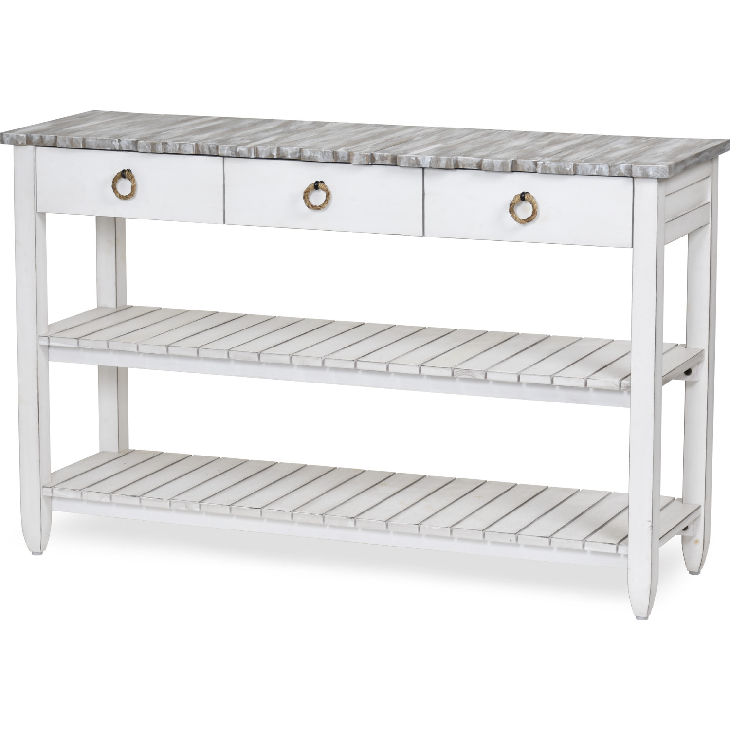 Picket Fence 52 Tv Stand Console Table In Distressed Grey White By Sea Winds