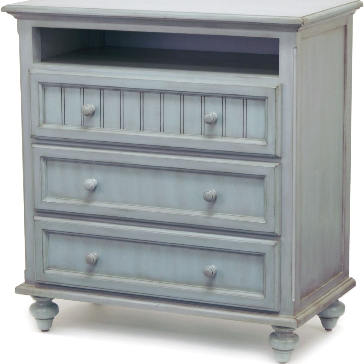 Monaco 3 Drawer Media Chest In Lightly Distressed Blue Wood By Sea Winds