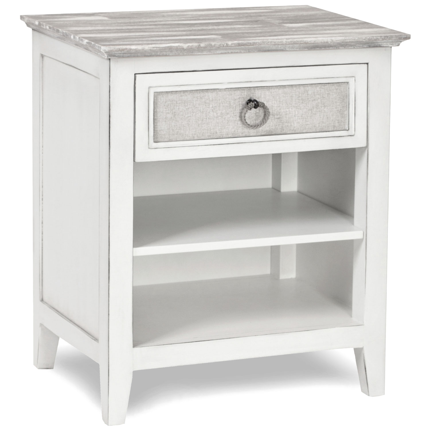 Captiva Island 1 Drawer Nightstand In Distressed Grey White By Sea Winds