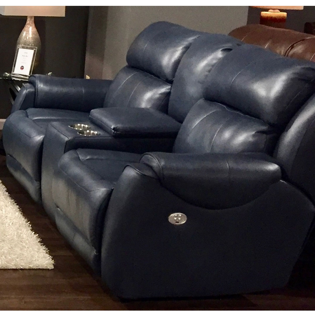Southern Motion 757 78p 903 60 Safe Bet Power Headrest Double Reclining Loveseat In Ultramarine Blue Leather