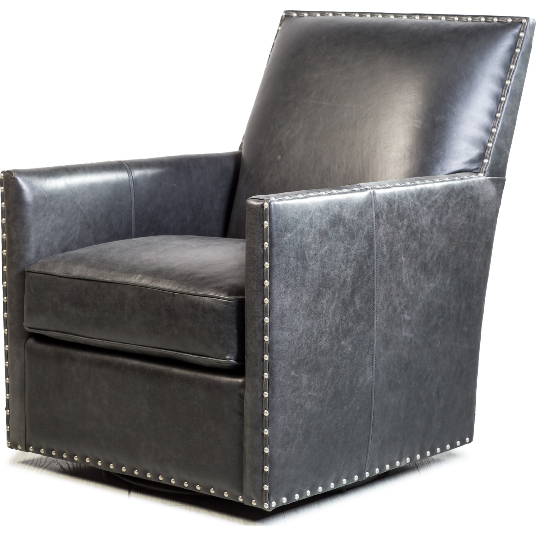 Fantastic Dexter Swivel Accent Chair In Black Top Grain Leather By Spectra Home Furnishings Ncnpc Chair Design For Home Ncnpcorg
