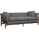 Spectra Home Furnishings Rebecca Sofa In Maple Finish Frame Tufted Charcoal Fabric
