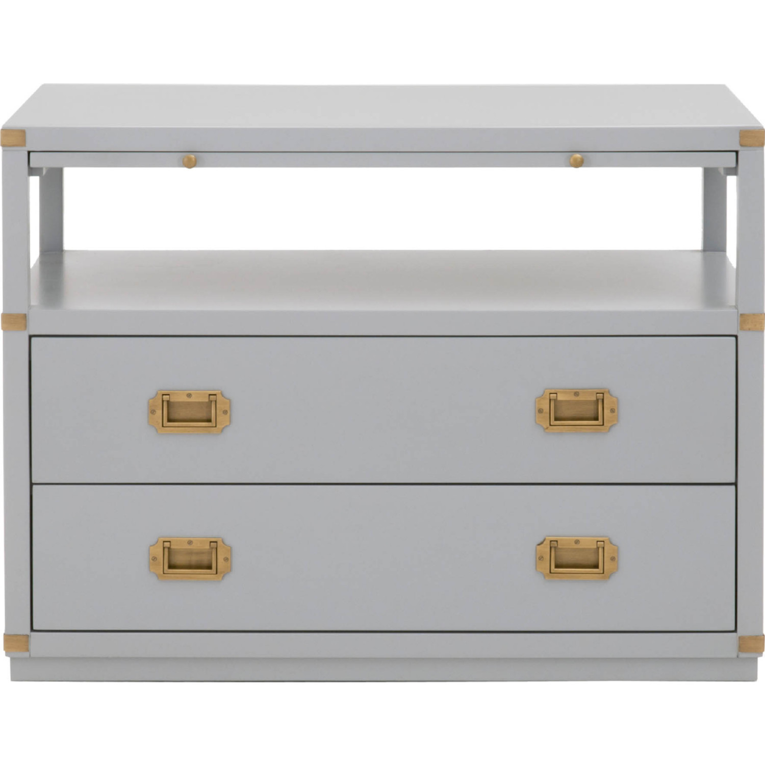 Efl 6131 Dgr Bgld Bradley 2 Drawer Nightstand In Dove Gray Brushed Gold