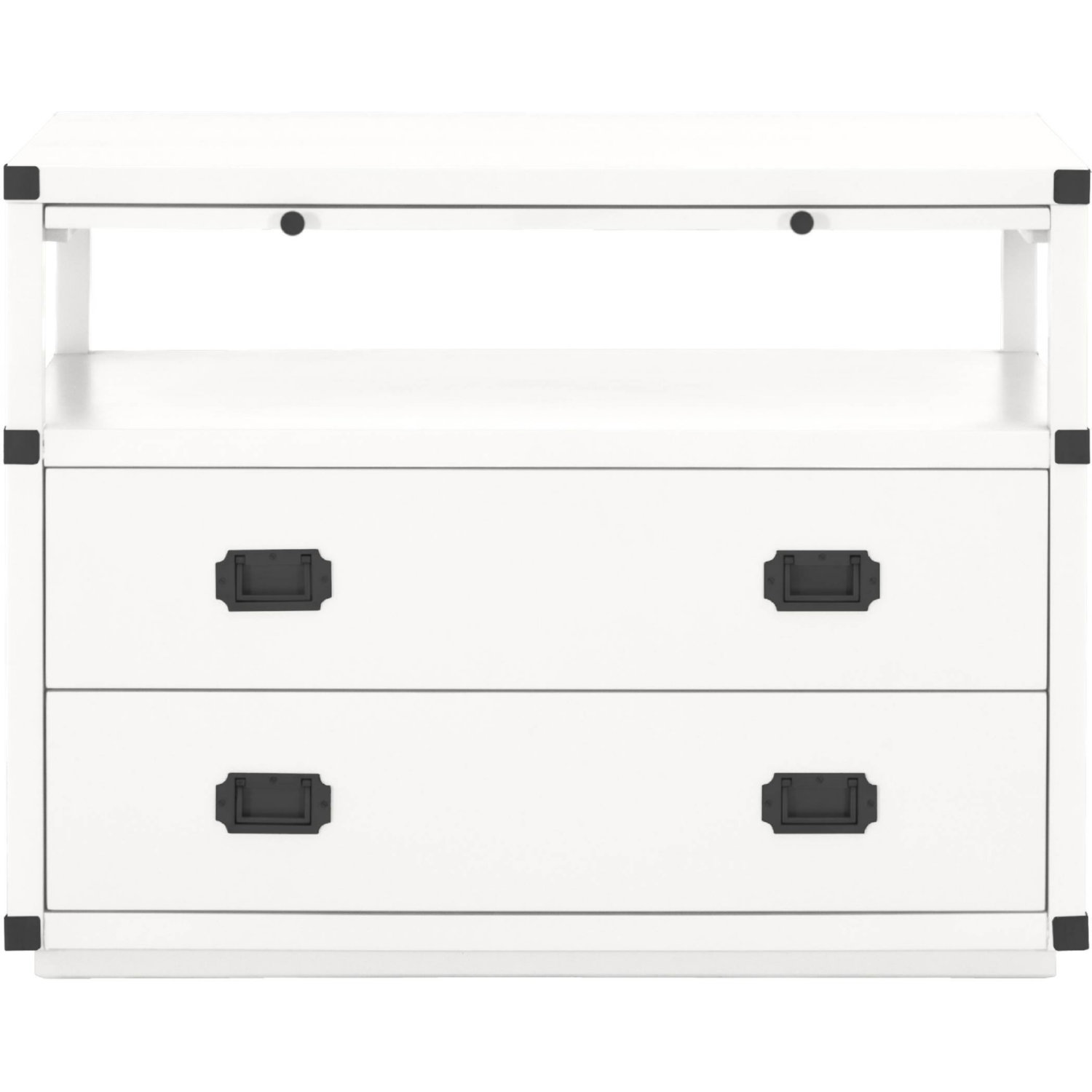 Bradley 2 Drawer Nightstand In White W Black Handles By Orient Express Furniture