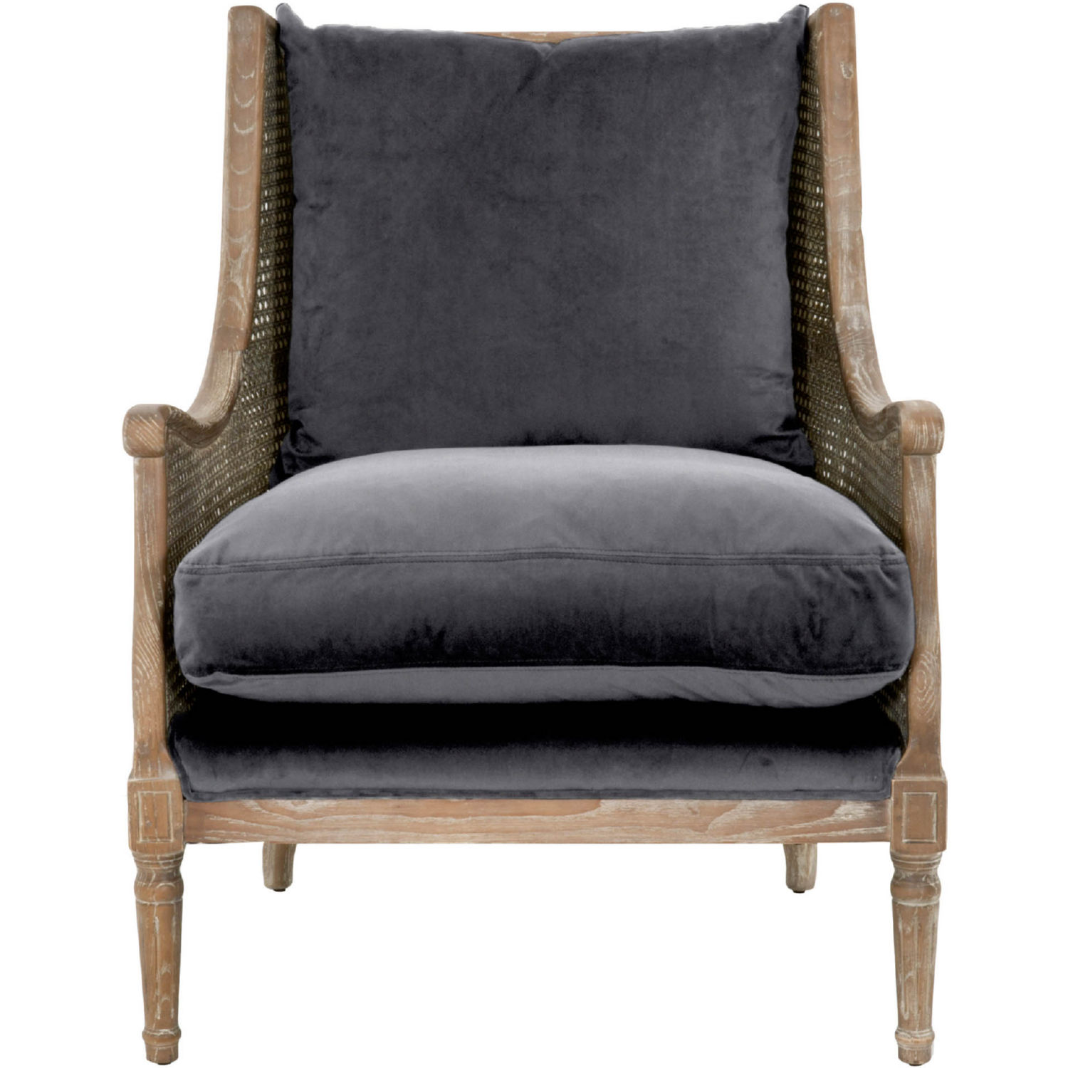 Orient Express Furniture 8213.SHGRY/W Churchill Club Chair In Shadow Grey  Velvet On Weathered Wood
