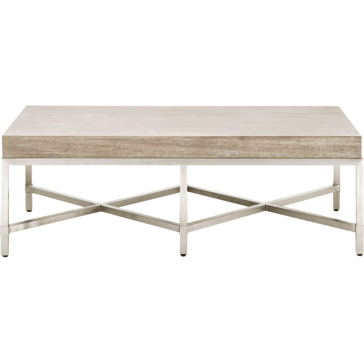 Orient express furniture 6117 ng bstl strand coffee table in grey acacia brushed stainless steel