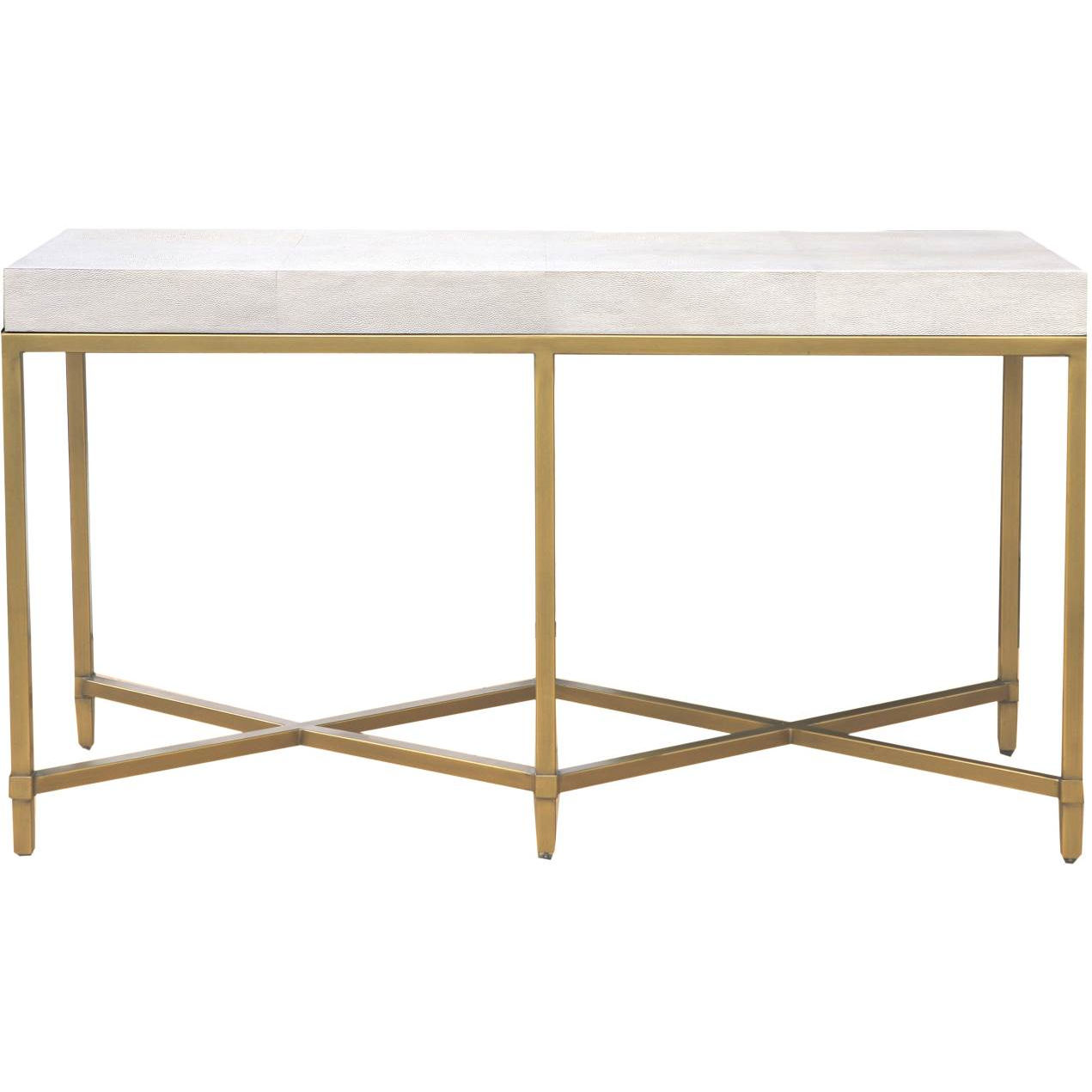 Orient express furniture 6119 wht shg gld strand console table in white faux shagreen brushed gold