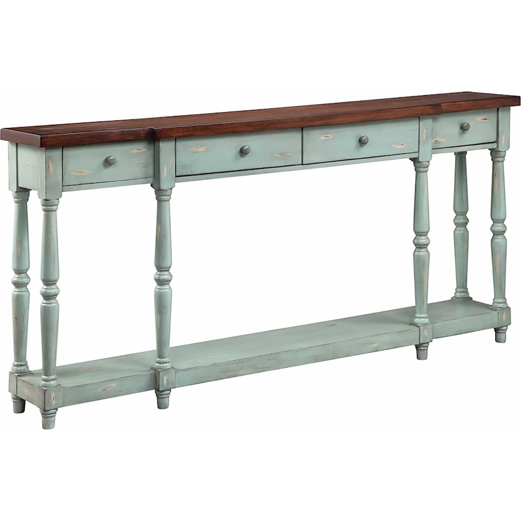 Stein world simpson console table in hand painted blue