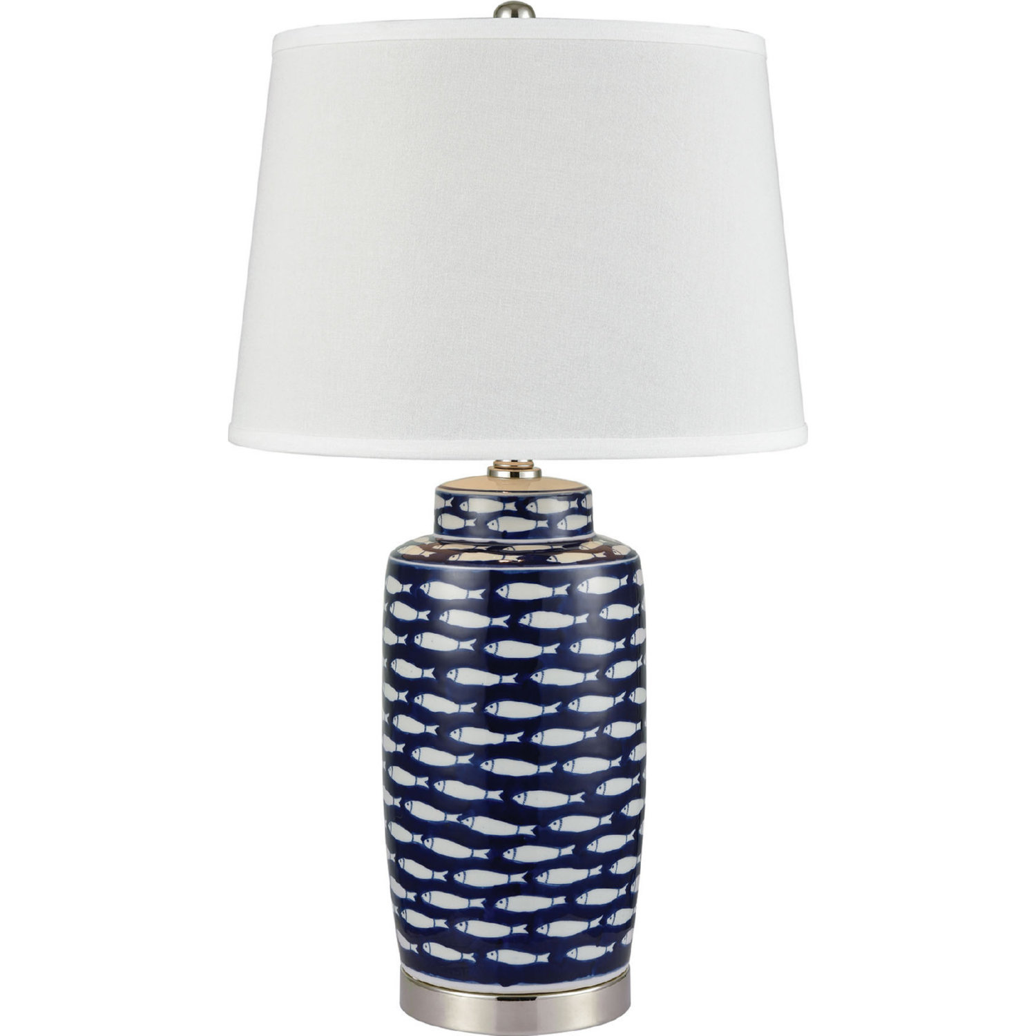 Blue White Ceramic Table Lamp W Fish Pattern By Stein World