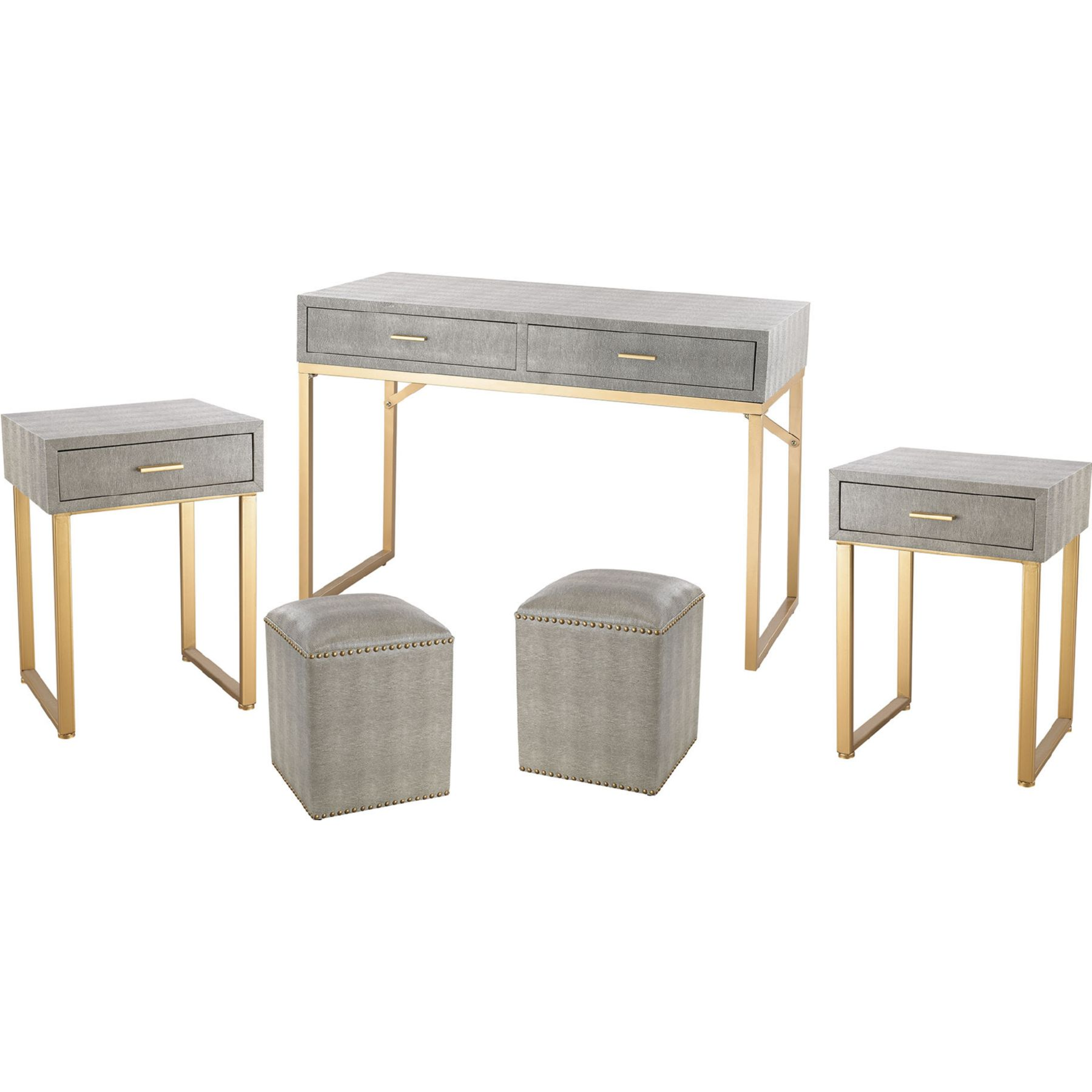 Sterling Industries Beaufort Point 5 Piece Accent Table Stools Set In Grey W Gold Legs