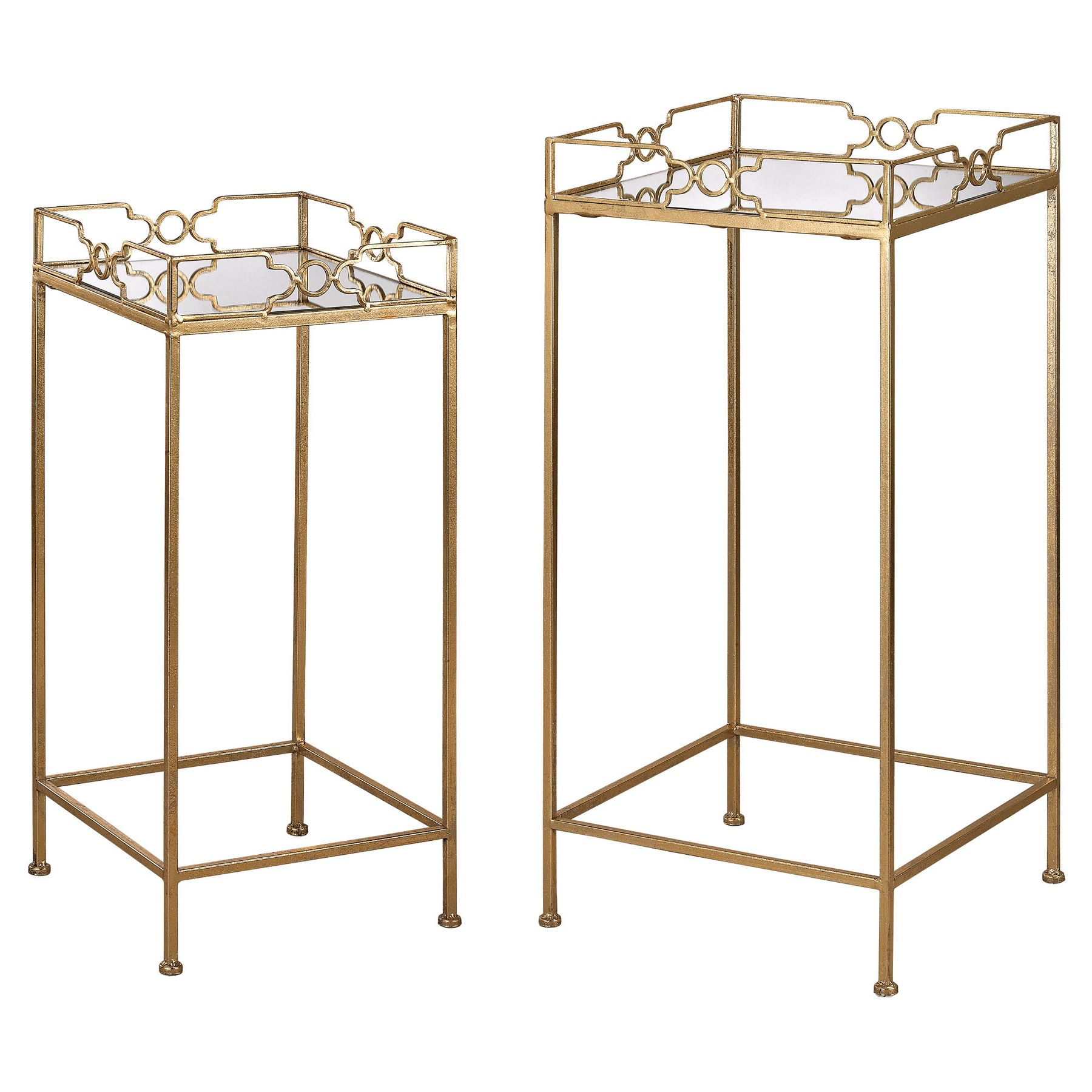 Bow Tie Mirrored Side Tables In Gold Leaf & Mirror