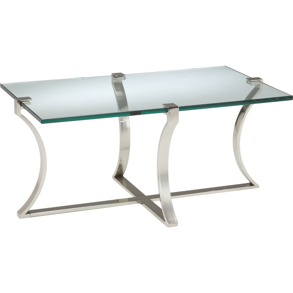 Sterling Industries 6041207 Uptown Coffee Table In Silver W Glass Top