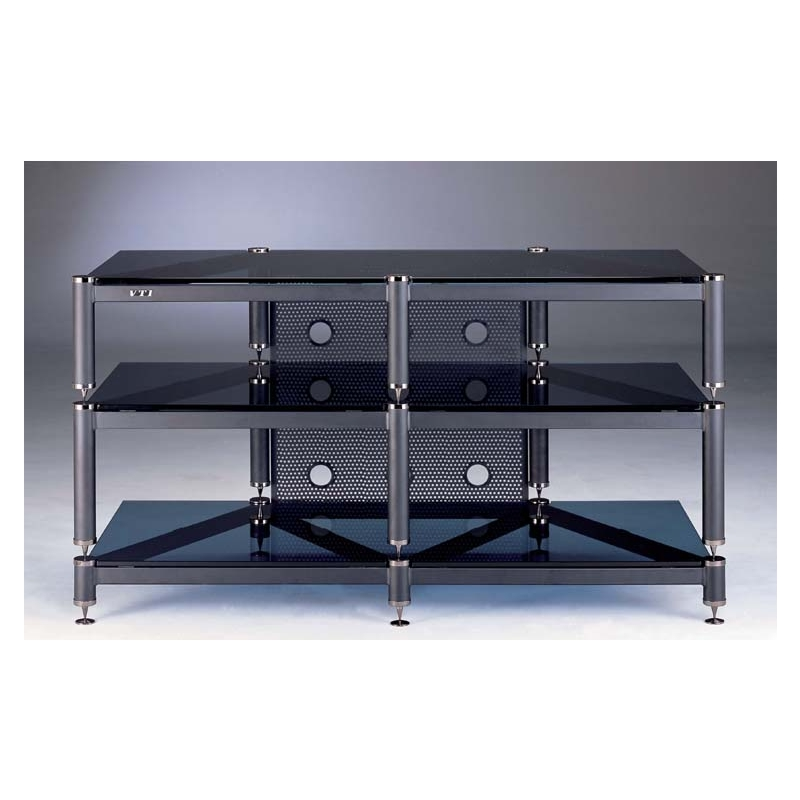 VTI BLG Series 3 Glass Shelf TV Stand Audio Video Rack In Multiple Finishes