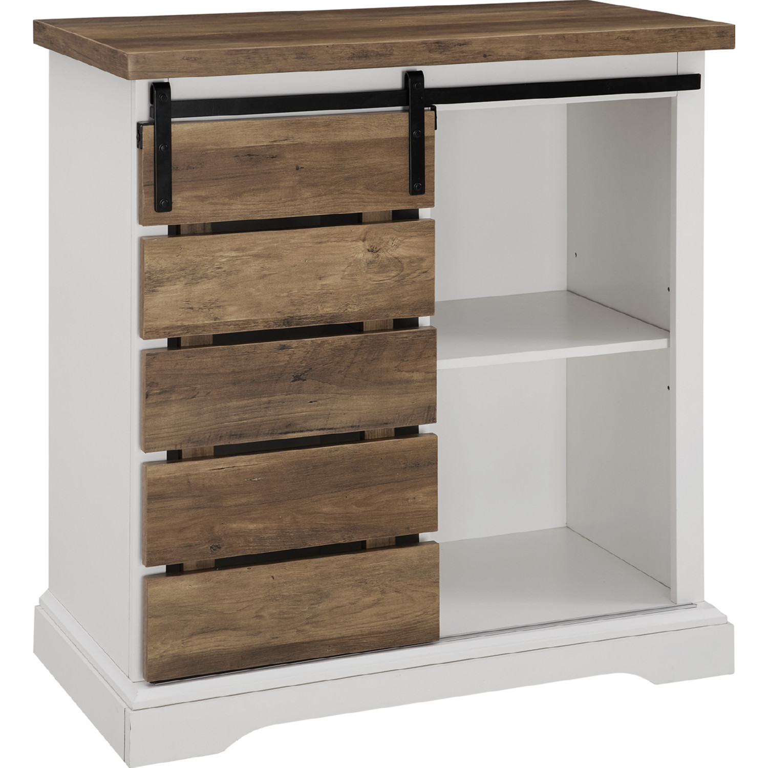 32 Rustic Farmhouse Tv Stand In Solid White Rustic Oak By Walker Edison
