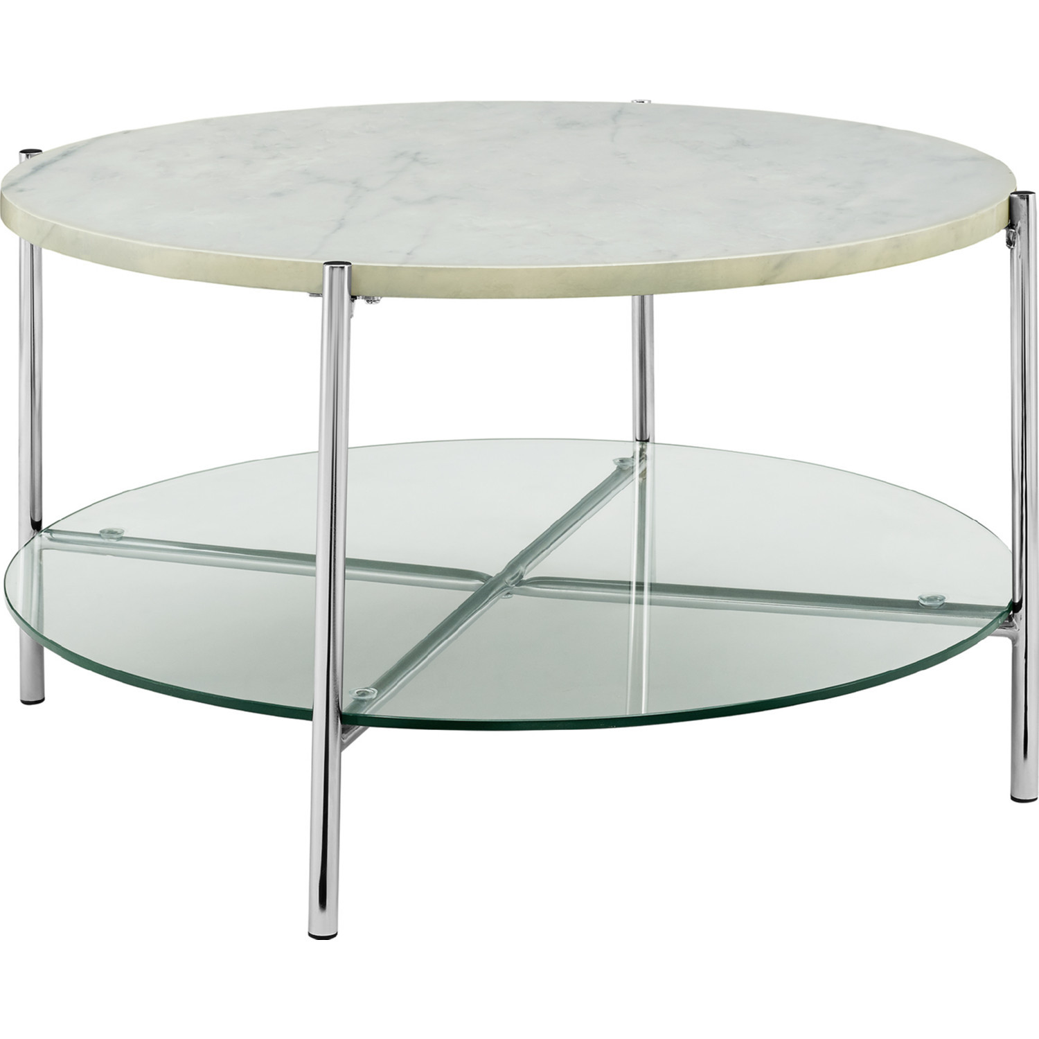 Astonishing Modern Round Coffee Table In White Faux Marble Glass Chrome By Walker Edison Bralicious Painted Fabric Chair Ideas Braliciousco