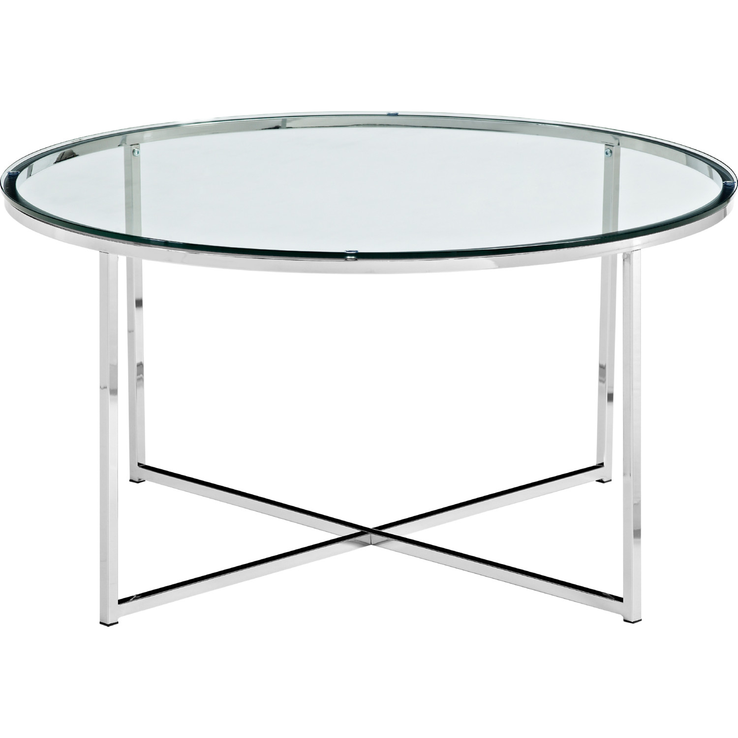 Mid Century Modern Coffee Table In Tempered Glass Chrome By Walker Edison