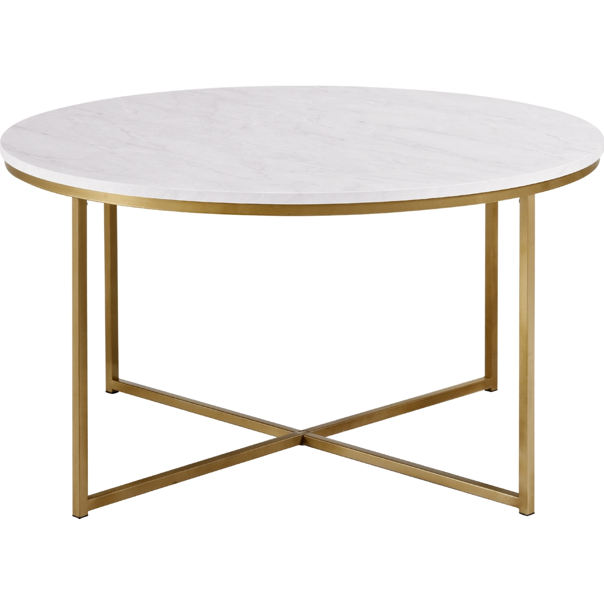 "Nuevo Aurora Gold Coffee Table: Walker Edison AF36ALCTMGD 36"" Coffee Table In Marble"