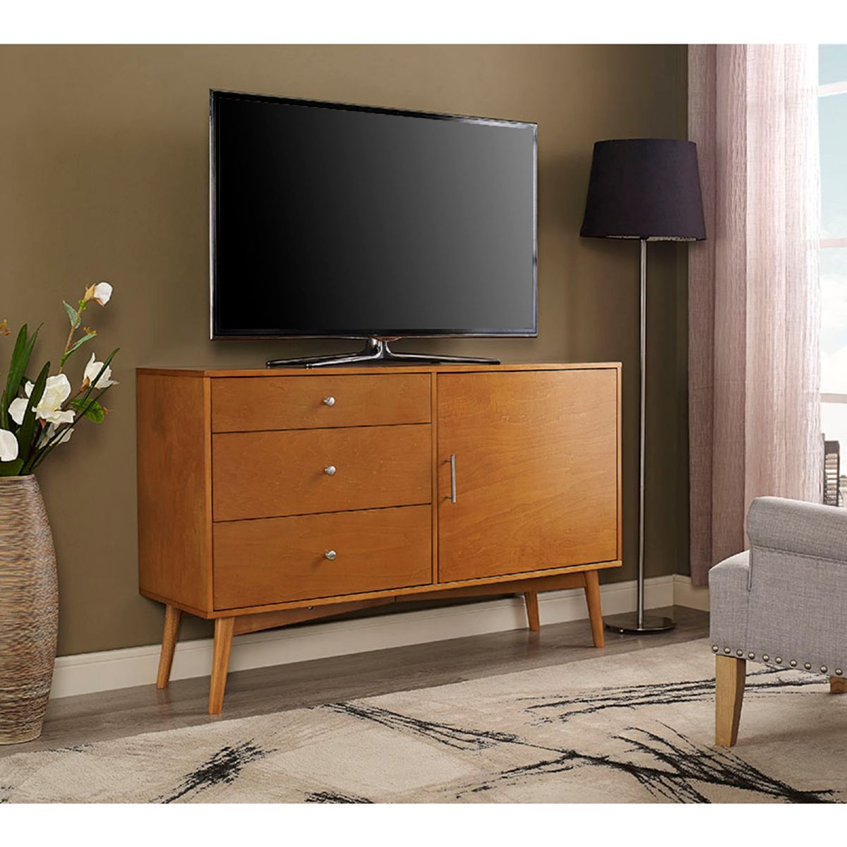 walker edison ah52cmcac angelo home 52 u0026quot  mid century tv stand console in acorn