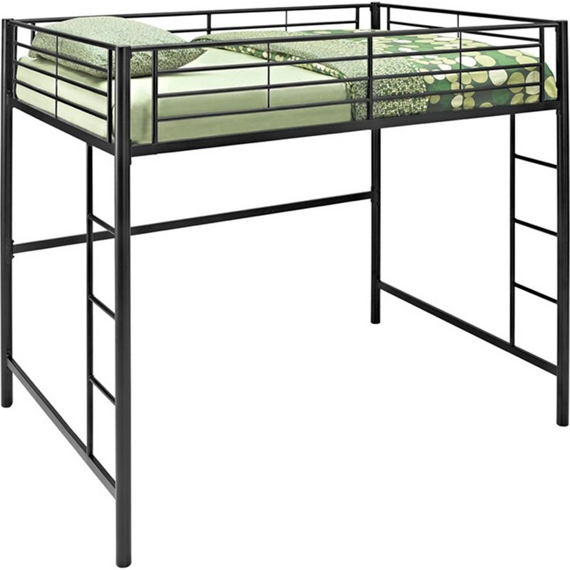 Walker Edison BDOLBL Metal Full Double Loft Bunk Bed In Black