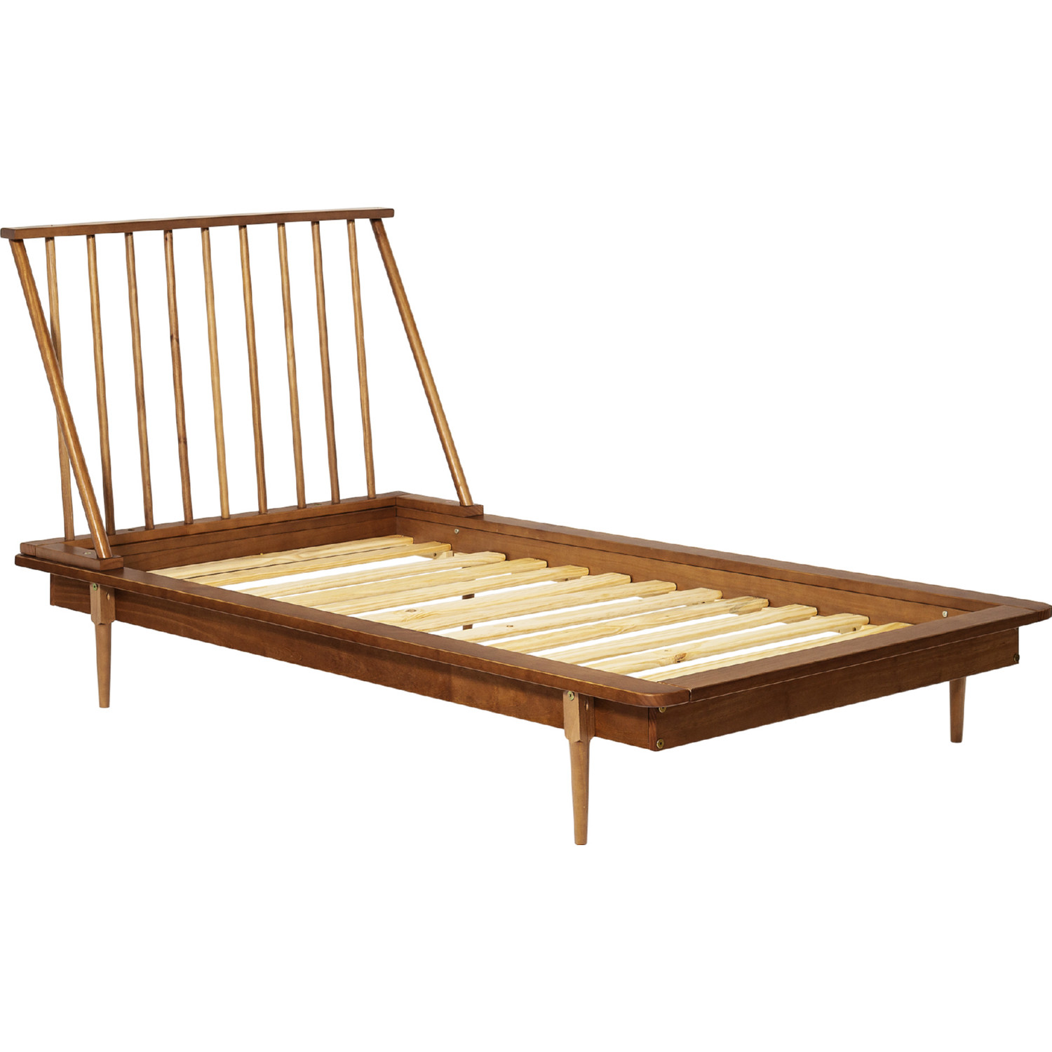 Gold Glass Dining Table, Walker Edison Btspinca Mid Century Modern Twin Wood Spindle Platform Bed In Caramel Finish
