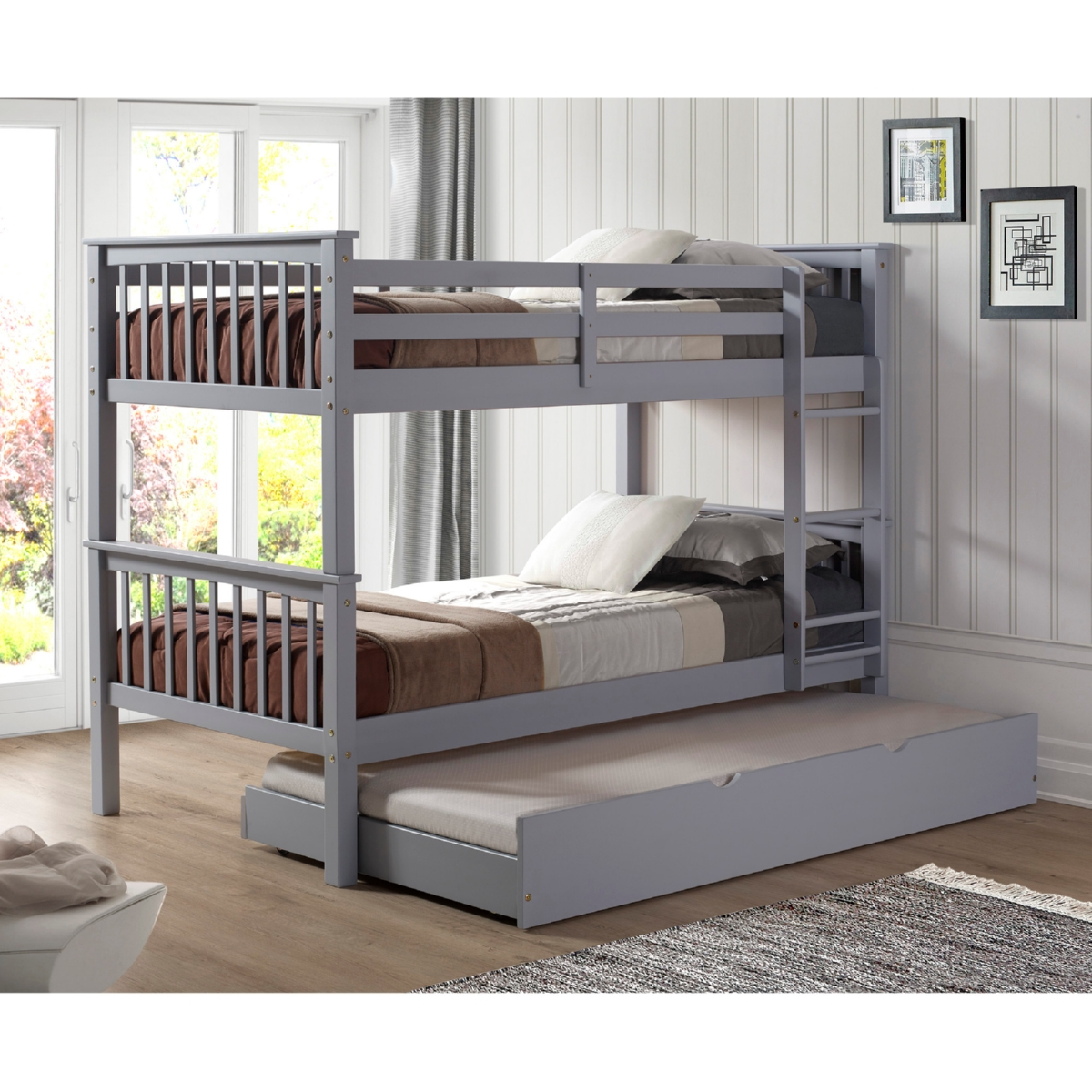 walker edison bwtotmsgy tr solid wood twin over twin bunk. Black Bedroom Furniture Sets. Home Design Ideas