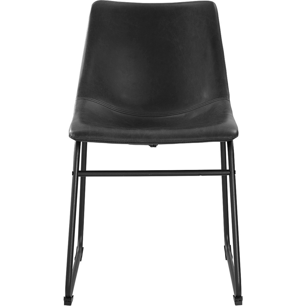 Black steel chairs - Black Leatherette Dining Chairs On Powder Coated Steel Legs Set Of 2