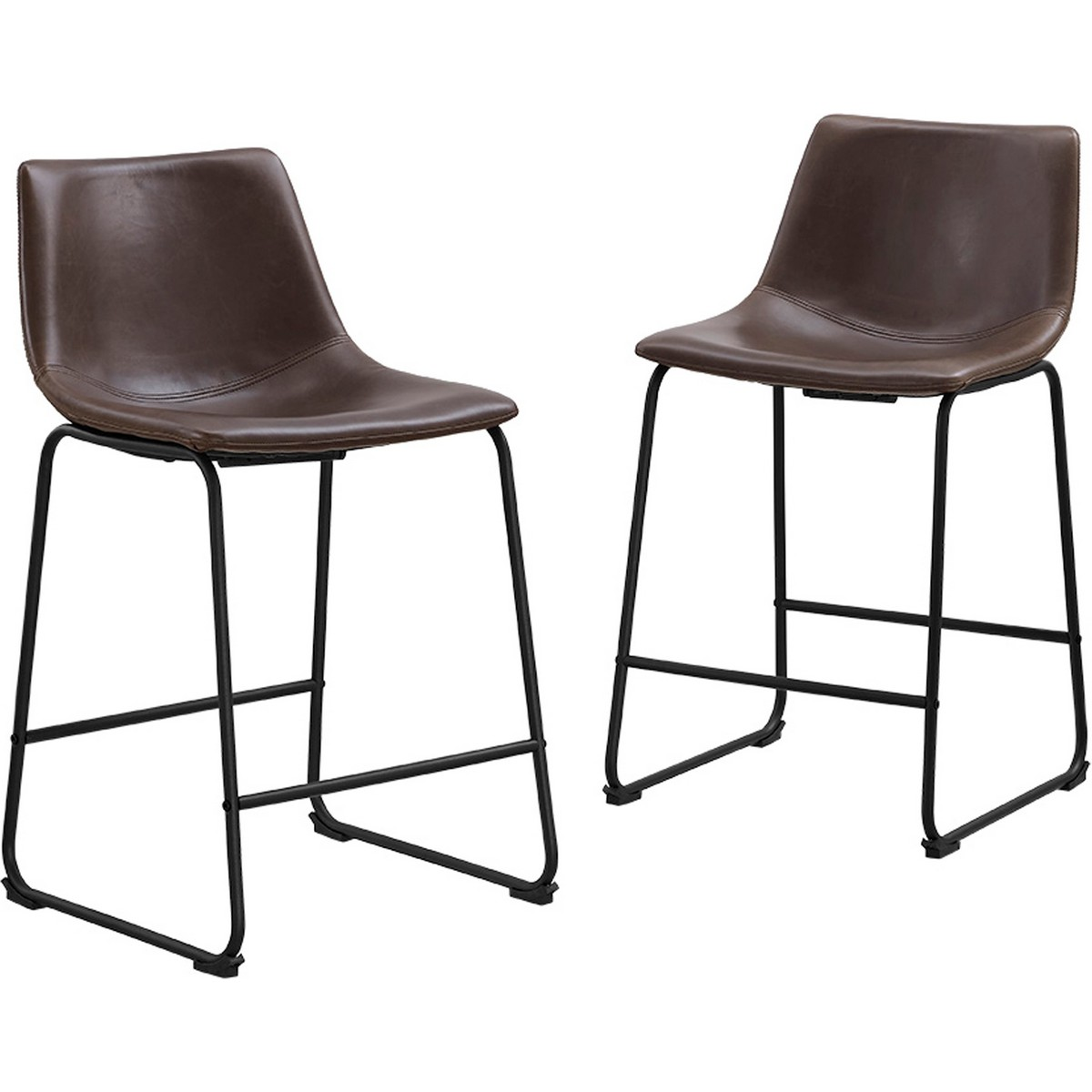 Walker Edison Brown Leatherette Counter Stools on Powder Coated Steel Legs(Set of 2)  sc 1 st  Dynamic Home Decor & Walker Edison CHL26BR Brown Leatherette Counter Stools on Powder ... islam-shia.org